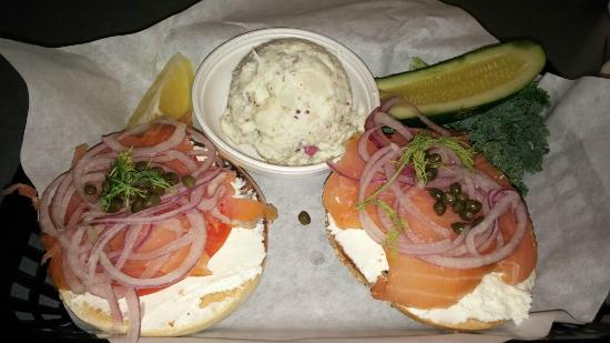Nosh: Bagel and lox, potato salad, pickle