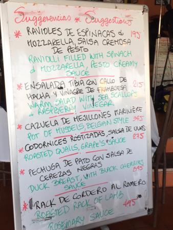 La Palapa Belga: Tonight's menu. Delicious.