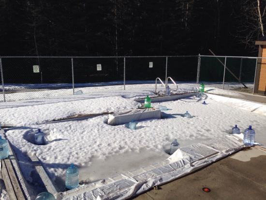 Mount Kidd RV Park: Kids pool,  very small, it's not always this icy though! March 2015.