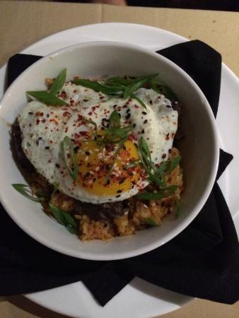 Restaurant at Kellogg Ranch: Korean Braised Beef on Kimchee rice with a Fried Egg