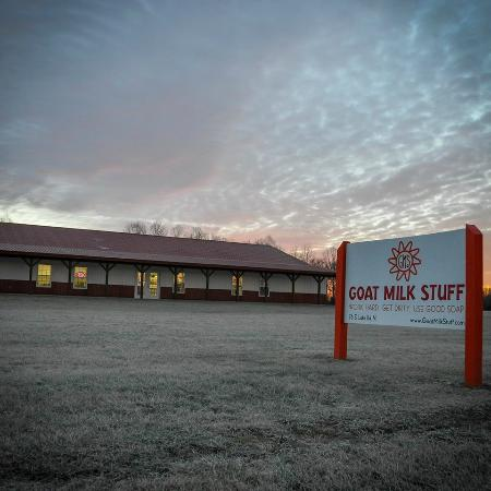 Scottsburg, IN: The Goat Milk Stuff production facility and retail store at sunset