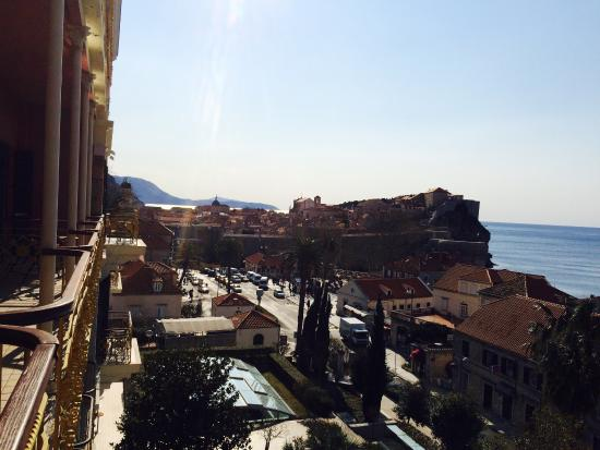 Hilton Imperial Dubrovnik: View of the Old Town from my balcony on the second floor