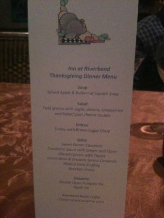 Pearisburg, VA: Thanksgiving menu