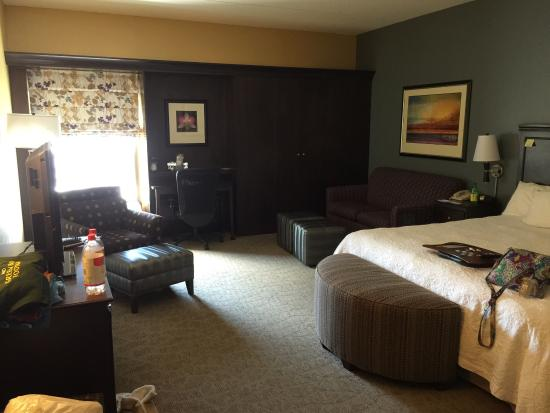 Hampton Inn Janesville: Great room!  This is the King suite with couch.  Very clean and fresh..  Also the TV had a few H