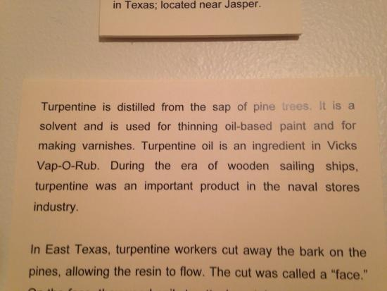 Texas Forestry Museum: Turpentine info