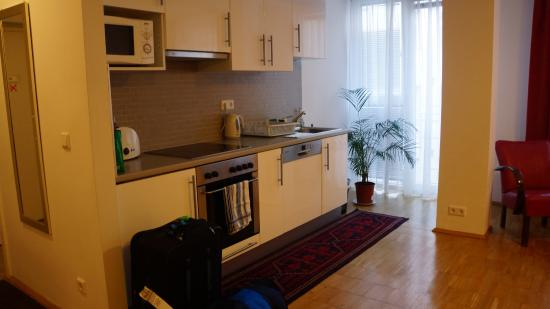 Shermin Apartments: Kitchen - to the right is the Living Room area