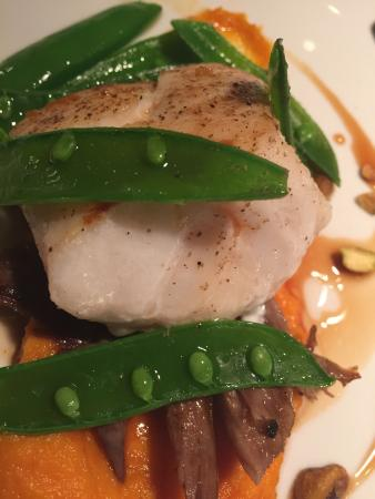 Washington, VA: Pan seared Cod Loin w/ Duck Confit, Sweet Potatoes & Snap Peas