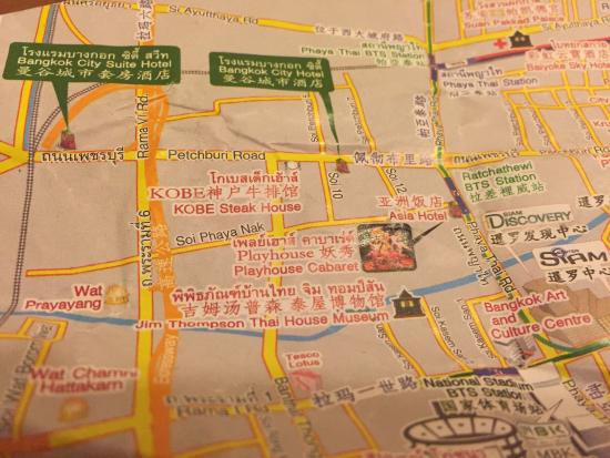 Bangkok City Hotel: 飯店附的小地圖