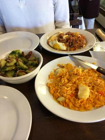 Napolean Bakery: Brussels sprouts, cod paella, and huevos rancheros