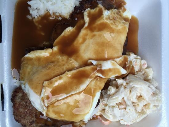 Blane's Drive Inn: Loco moco...patty homemade but too much pepper for my husband & I.