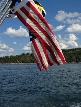 Table Rock Lake: flag on an island