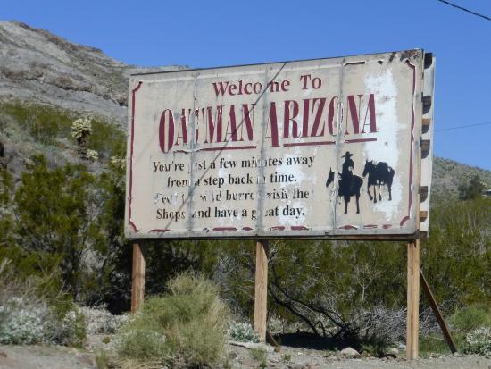 Oatman, AZ: Entrance sign to the old mining town