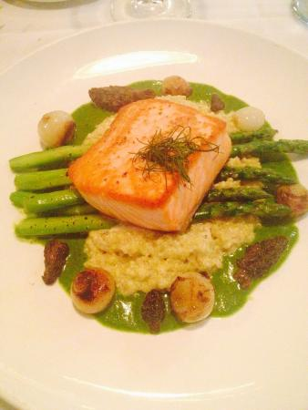 Evans Street Station: Salmon with quinoa asparagus purée parsley pearl onions and morel mushrooms.