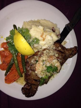 Crusco's Ristorante: New York steak with shrimp and garlic mashed potatoes