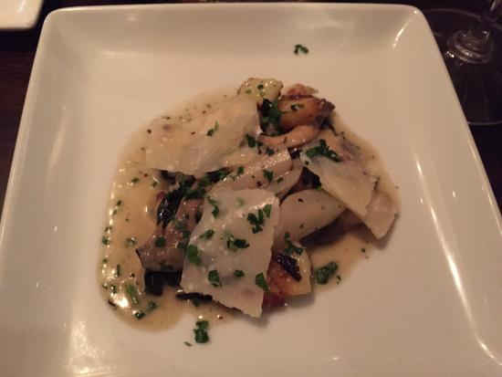 JoLe : Mushroom gnocchi - light, fluffy, rich mushroom flavor with shaved Parmesan. My favorite dish of