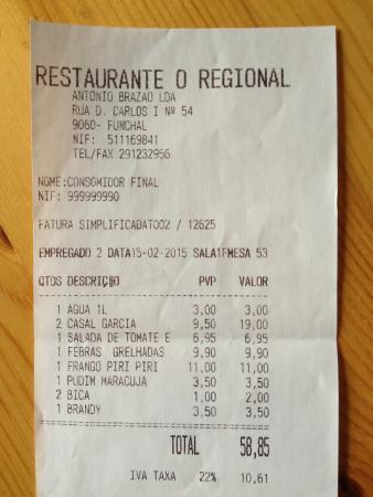 O Regional Restaurante : Nicht so teuer, wie gedacht...