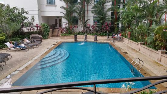 Swimming pool, with one small hot water jacuzzi pool at the ...