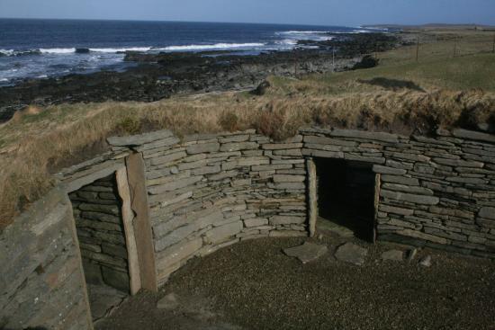 The Knap O' Howar: Doorway of Larger House and corridor into Smaller House, Knap O' Howar