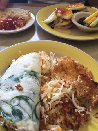 Omelette Shoppe: Denver Omelette with spinach & made with egg whites. The garden Eggs Benedict with Canadian Baco
