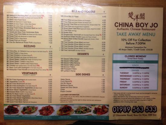 China boy jo ross on wye restaurant reviews phone for C kitchen chinese takeaway restaurant