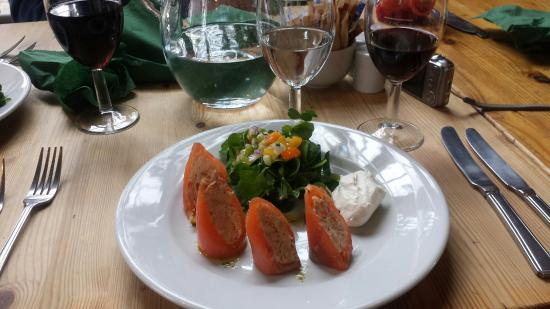Moreton Tea Rooms: Delicious local Crab & Salmon paupiette - Mothers Day menu starter.