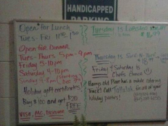 Harry's Old Place: Daily menu board