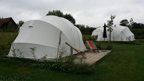 Luxury tents at the Glamping Ecochique at Westouter Belgium