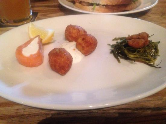 The Crown Inn: Seafood plate in need of something else? Or a smaller plate at least.....looked disappointing.