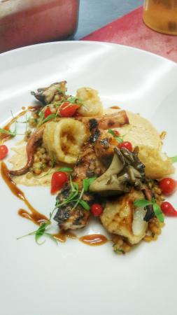 Andrea's Dining Room: charred octopus, kimchi, calamari, balsamic