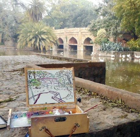 Jorbagh BnB : painting at nearby Lodi Gardens