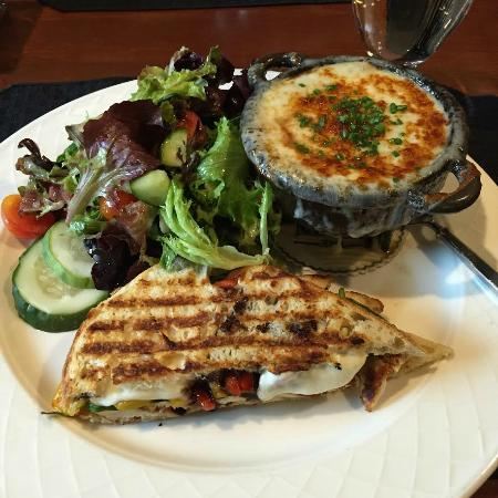 The Grain House: Panini with garden salad and french onion soup