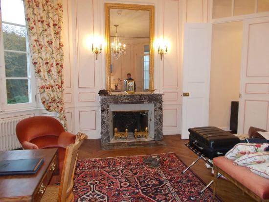 Château de Locguénolé : Fireplace in room.