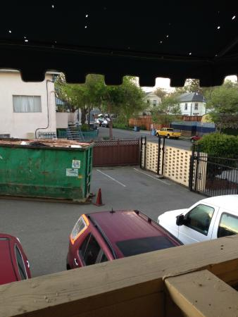 La Quinta Inn Berkeley: view of parking lot directly in back of room - note these homes are $900,000