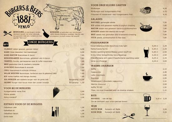 Venlo, The Netherlands: Menu kaart van Burgers & Beers