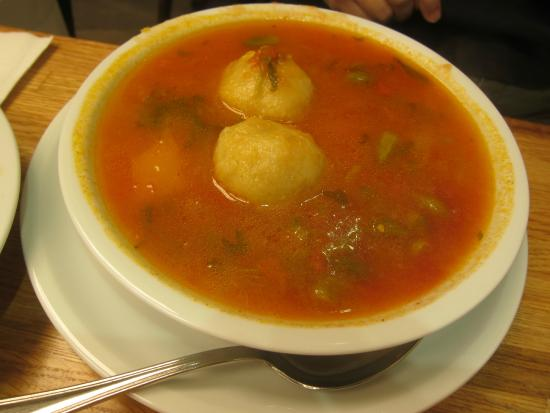 Sima's Restaurant: Okra soup with meat filled semolina dumplings
