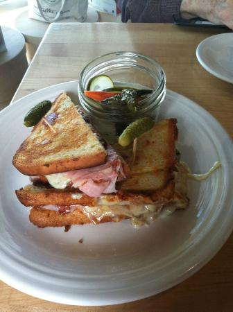 The Cheese Shop: Toastie with rosemary ham, Iowa-made cheese, and a cherry spread