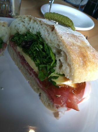 The Cheese Shop: The Pig & Fig sandwich with La Quercia Prosciutto, Fromage d'Affinois, and a fig spread