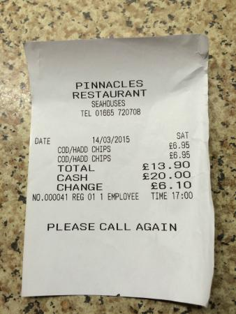 Seahouses, UK: DerbyshireTripper's receipt - we did actually visit Pinnacles