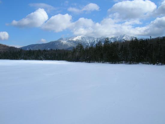 Lonesome Lake: Frozen lake and Mt. Lafayette