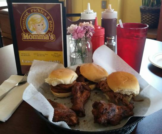 Momma's Mustard, Pickles & BBQ: Sliders and wings!  Pork, sausage and brisket