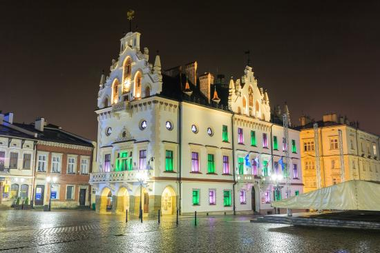Rzeszow Town Hall at night.