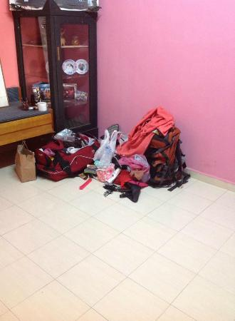 The Cottage Langkawi: all our things which were thrown out of our room. The pink one is my toothbrush!!