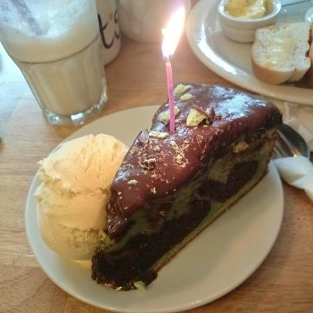 Beckett's coffee shop : Chocolate mint cake complete with birthday candle!