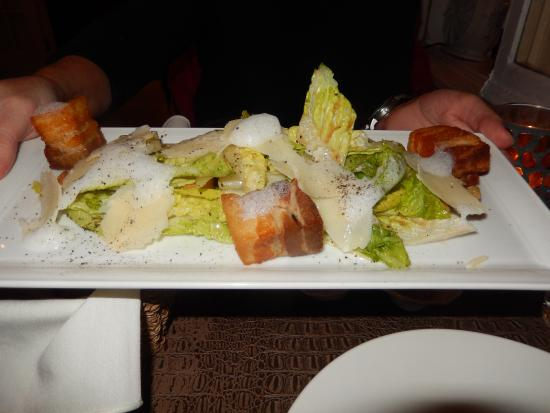 Auberge Du Petit Prince: ceasar salad with pork belly notice all the fat