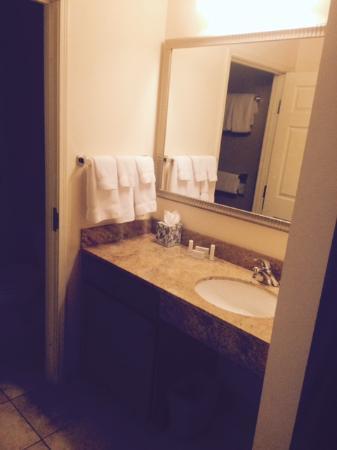 Residence Inn Denver City Center: Bathroom vanity area, undercounter drawer and shelf/cabinet. toiletries. Hairdryer in closet.