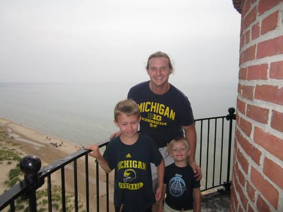 Little Sable Point Lighthouse: on top of the lighthouse with lake michigan in the background