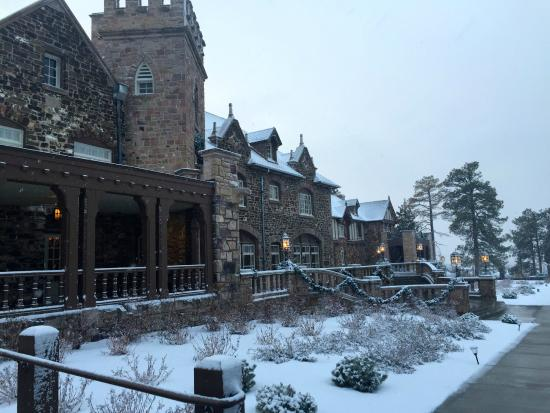 Highlands Ranch Mansion on a snowy evening in December.