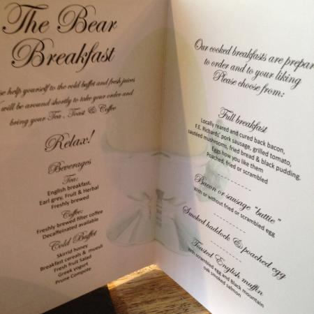 The Bear Hotel: Breakfast Menu