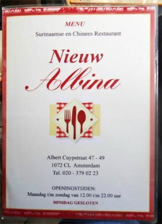 Nieuw Albina: The Menu card
