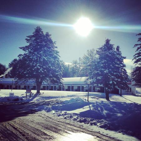 Exit 41 Travel Inn: bluebird day! sunrising over the motel. picture perfect!